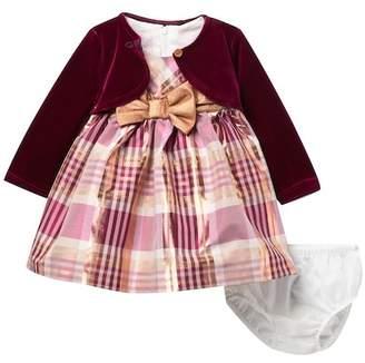 Iris & Ivy Cardigan & Plaid Dress Set (Baby Girls)