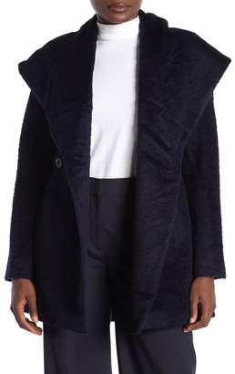 Trina Turk Sheared Wool Blend Shawl Collar Coat