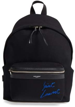 Saint Laurent Signature Embroidered Canvas Backpack