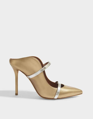 Malone Souliers Maureen 100 High Mule Shoes in Gold and Silver Metallic Nappa Leather