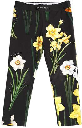 Dolce & Gabbana Floral Print Cotton Interlock Leggings
