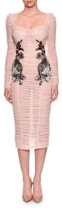 Dolce & Gabbana Long-Sleeve Ruched Tulle Cocktail Dress w/ Leopard Rose Applique