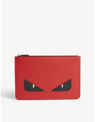 Fendi Monster leather pouch