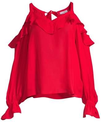 2904b9655c622d at Saks Fifth Avenue · Parker Shaylie Silk-Blend Cold-Shoulder Top