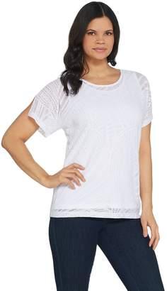 Susan Graver Stretch Lace Short Sleeve Top w/ Liquid Knit Tank