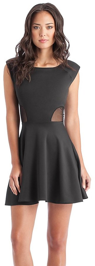 GUESS Mesh-Inset Shirred Dress