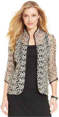Alex Evenings Three-Quarter-Sleeve Metallic Embroidered Jacket & Shell $99 thestylecure.com
