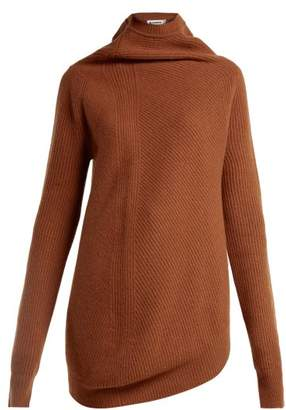 Jil Sander Asymmetric Wool And Cashmere Blend Sweater - Womens - Camel
