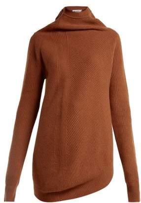 Jil Sander - Asymmetric Wool And Cashmere Blend Sweater - Womens - Camel