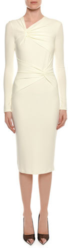 TOM FORD Long-Sleeve Shirred Neck & Waist Fitted Day Dress