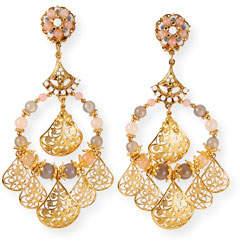 Jose & Maria Barrera Agate Hoop & Filigree Dangle Earrings