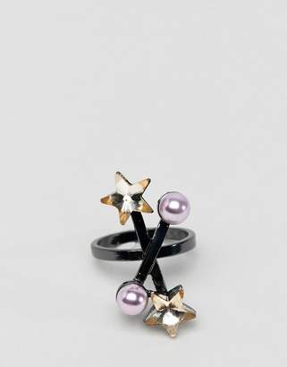 Asos DESIGN ring with crystal star and pearl in gunmetal