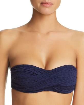 Shoshanna Twist Eyelet Bandeau Bikini Top
