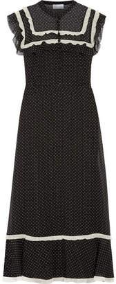 REDValentino - Ruffled Polka-dot Chiffon Midi Dress - Black $1,080 thestylecure.com