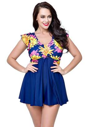 3e9791aaaf9 at Amazon Canada · U.R.dream Women's Plus Size Swimwear Elegant One Piece  Swimdress Long Torso Swimsuits 4XL~8XL