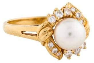 Mikimoto 18K Pearl & Diamond Ring