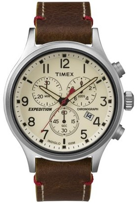 Timex Men's Expedition Scout Chrono Watch, Brown Leather Slip-Thru Strap