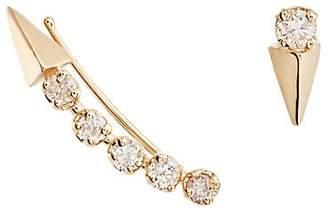 Loren Stewart Women's Mismatched White Diamond & Yellow Gold Earrings