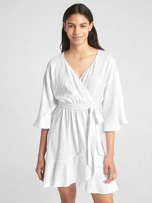 Gap Crinkle Flounce Wrap Dress