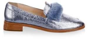 Loeffler Randall Greta Metallic Leather & Dyed Shearling Loafers