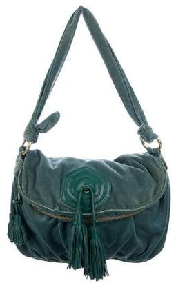 Marc Jacobs Leather-Trimmed Velour Shoulder Bag