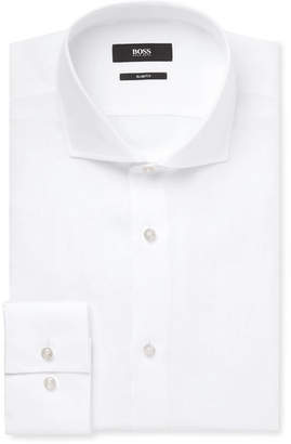 White Jason Slim-Fit Linen Shirt