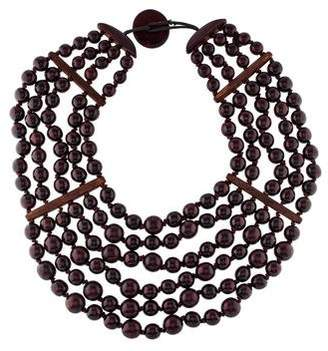 Viktoria Hayman Wood Multistrand Collar Necklace