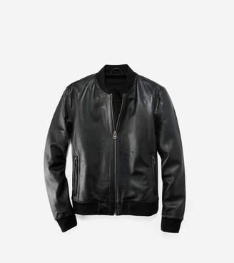 Cole Haan Leather Varsity Jacket