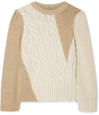 Co Two-tone Cable-knit Alpaca-blend Sweater - Cream
