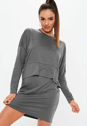 Missguided Dark Grey Jersey Overlay T Shirt Dress