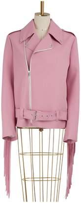 MSGM Fringed biker jacket