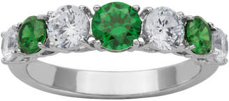 FINE JEWELRY DiamonArt Sterling Silver Green & White Cubic Zirconia Band Ring