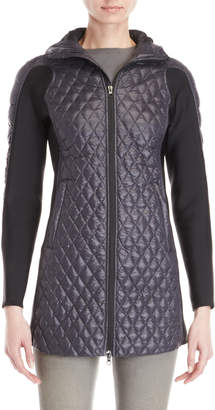 Bacon Navy Diamond Quilted Hooded Longline Jacket