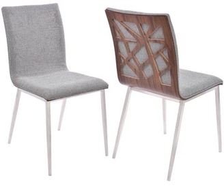 Armen Living Crystal Dining Chair, Brushed Stainless Steel Finish with Fabric Upholstery and Walnut Back (Set of 2)