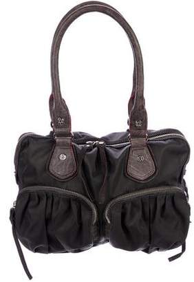MZ Wallace Leather-Trimmed Nylon Zip Shoulder Bag