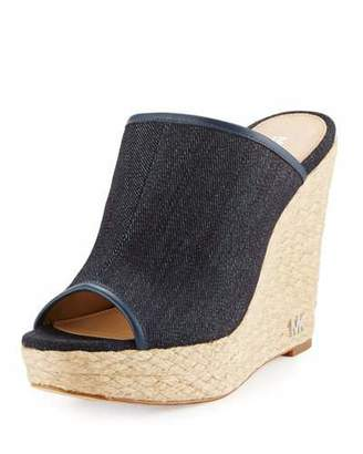 MICHAEL Michael Kors Hastings Denim Wedge Mule, Dark Denim $140 thestylecure.com