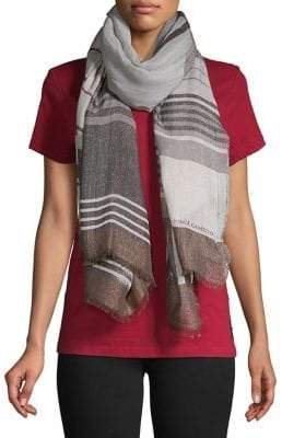 Vince Camuto Striped Frayed Scarf