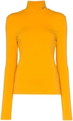 Calvin Klein logo fitted cotton turtleneck top