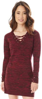 Iz Byer Juniors' Lace-Up Sweater Dress