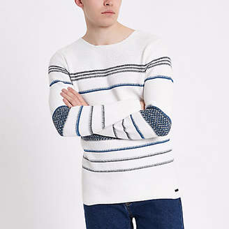 River Island Only and Sons white stripe knit sweater