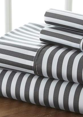 IENJOY HOME The Home Spun Premium Ultra Soft Ribbon Pattern 4-Piece King Bed Sheet Set - Gray