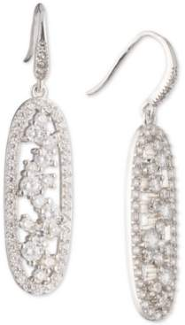 Carolee Silver-Tone Cubic Zirconia Oval Drop Earrings