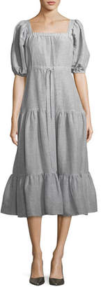 Co Square-Neck Tiered Stripe Linen Long Dress