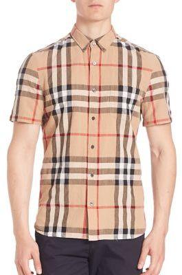 Burberry Short Sleeve Check Button-Down Shirt $295 thestylecure.com