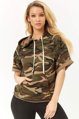 Forever 21 Hooded Camo Print Top