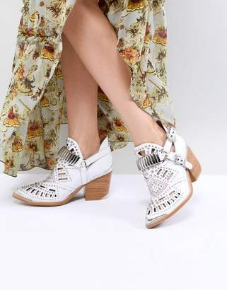 Jeffrey Campbell Leather White Western Laser Cut Ankle Boots