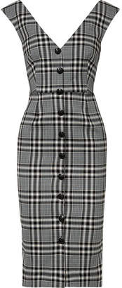 Veronica Beard Lark Plaid Cotton-blend Tweed Midi Dress - Black