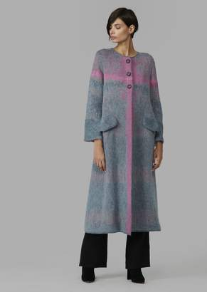 Giorgio Armani Long Single-Breasted Shaded Knit Coat With Side Splits