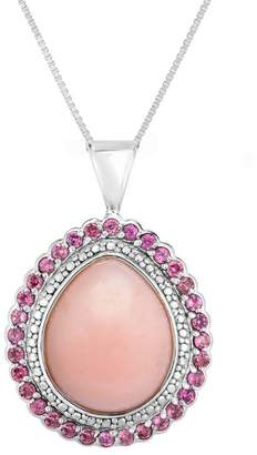 Sterling Pear-Shaped Pink Opal Halo Pendant w/Chain