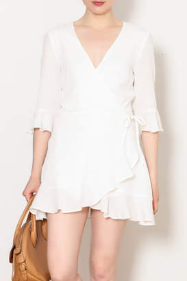 Honey Punch Theresa Wrap Romper With Ruffle Sleeve